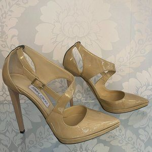 JIMMY CHOO Nude Patent Leather Pointed Toe Platform Sandal/Heels